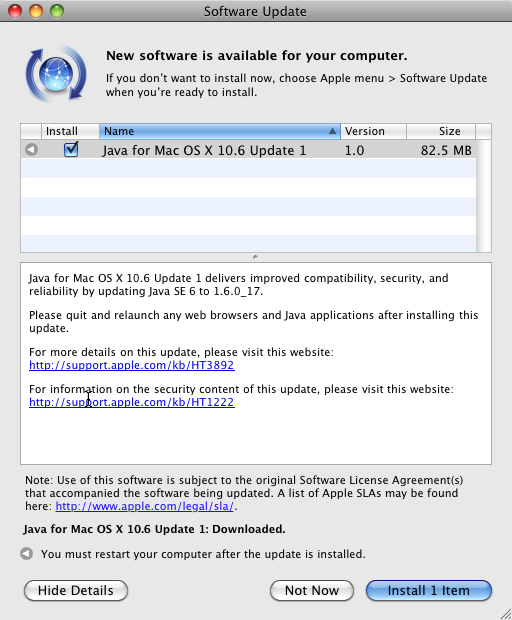 Software Update Java for Mac OS X 10.6 Update 1